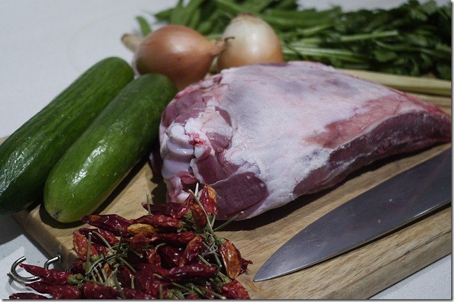 Ingredients for Thai style slow-cooked lamb shoulder