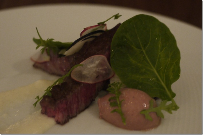 Seared Wagyu rump with chicken liver pate