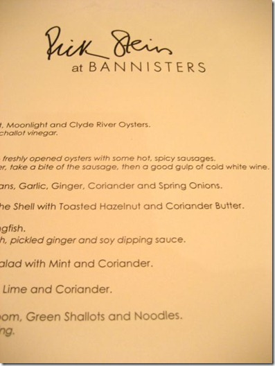 Dinner menu - Rick Stein at Bannisters, Mollymook