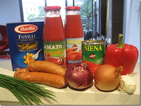 Ingredients for pasta with Chorizo and red sauce