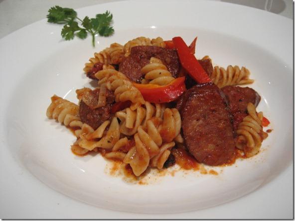 Pasta with Chorizo and red sauce
