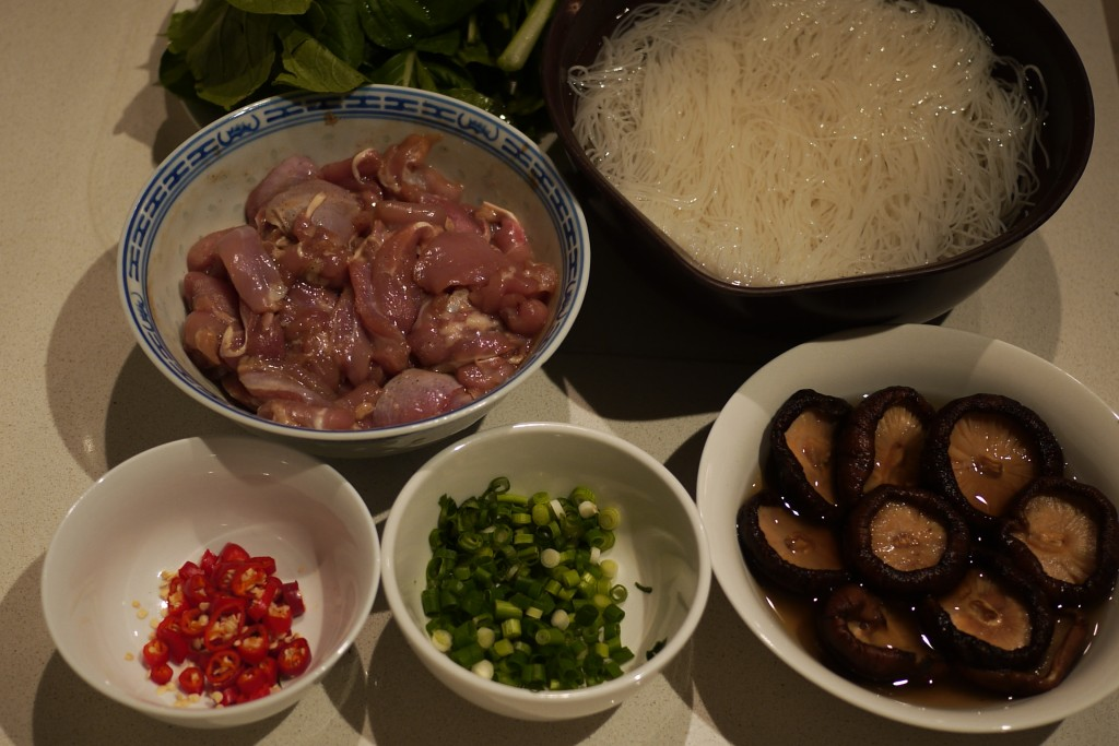 Ingredients for rice vermicelli in chicken broth