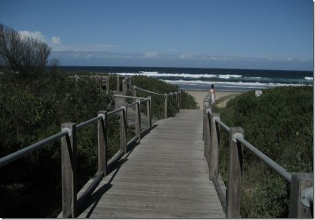 Wooden path to Seven Mile beach