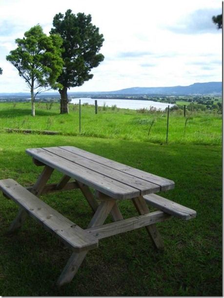 Wooden picnic bench overlooking the Shoalhaven river