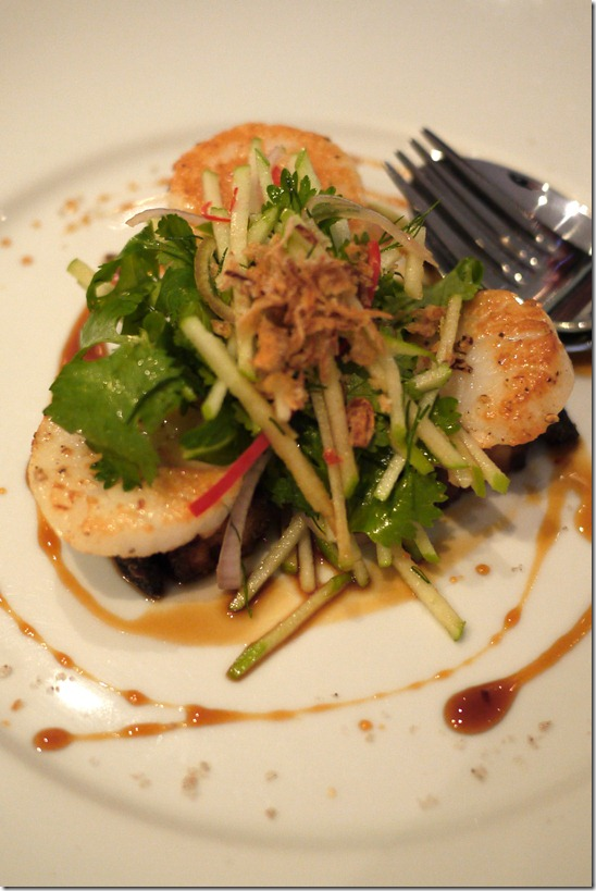 Seared scallops with caramelised pork belly and apple slaw $19.50
