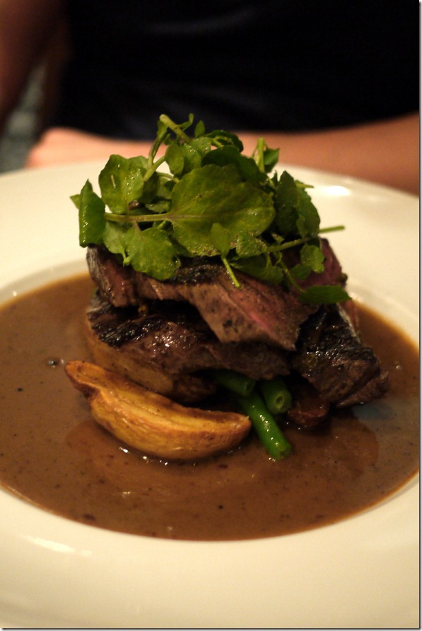 Wagyu rump with peppercorn sauce and kipfler potatoes $37.00