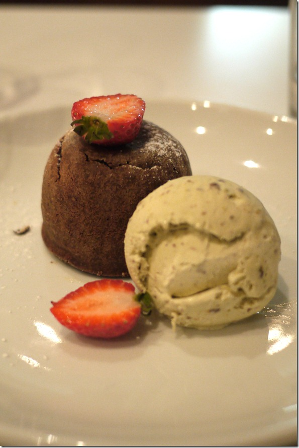 Warm-centred chocolate pudding with pistachio ice-cream $13.50