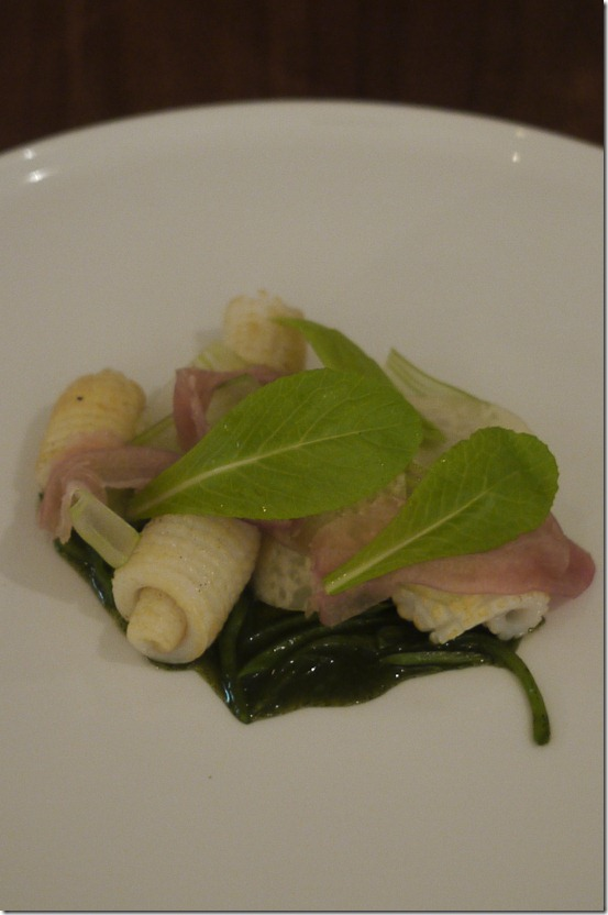 Barbecued squid with tuna ham