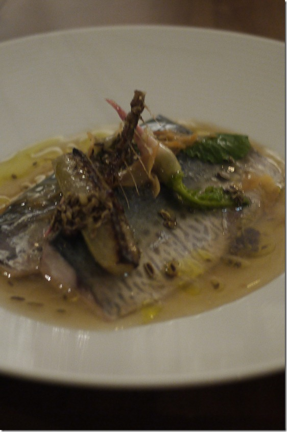 Mackerel with shitake vinaigrette and nashi