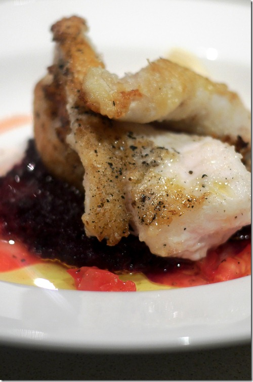 Monk fish with purple carrot puree