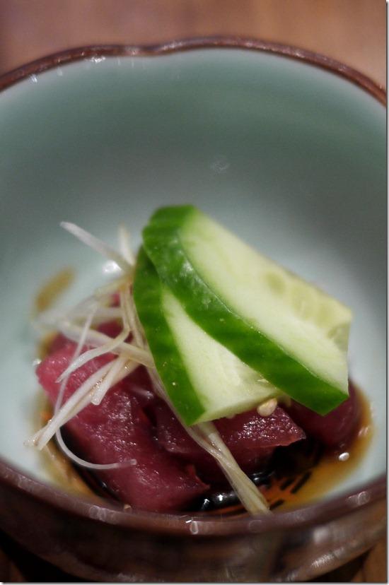 Amuse bouche - tuna sashimi