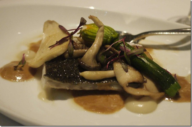 Steamed jewfish, scapi stuffed zucchini flowers, garlic puree, mushrooms $42