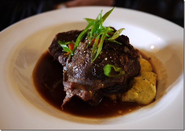 Slow-cooked beef cheeks and polenta mash $25