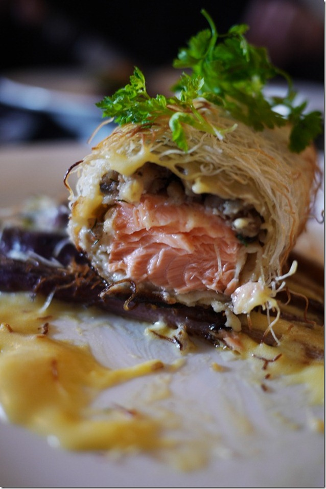 Salmon Wellington with Bernaise sauce and purple carrots $25