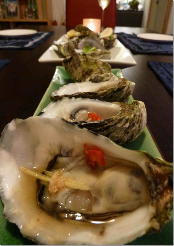Steamed oysters with shao xing wine reduction