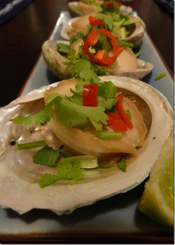 Steamed baby abalone with coriander and chilli