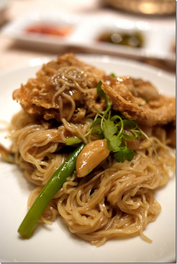 Deep fried soft shell crab and egg noodles