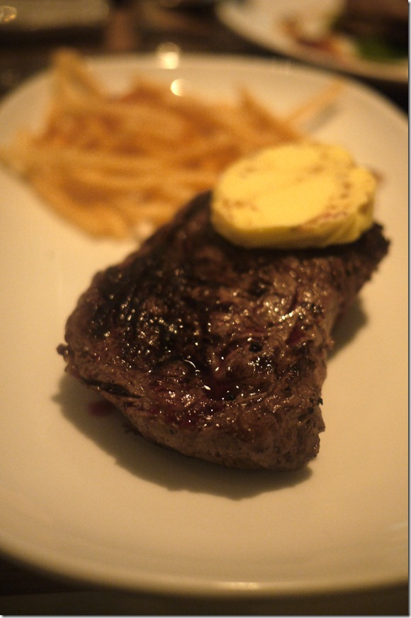 Chargrilled ribeye steak with eschallot butter and shoestring fries $29.00