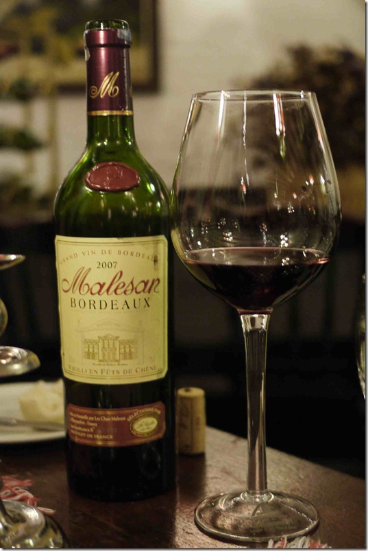 2007 Malesan Bordeaux, Ye Old Smokehouse, RM110 (Approximately A$34)
