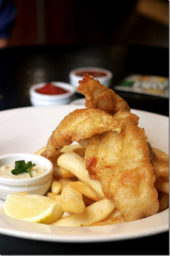 Beer battered fish and chips $11.90