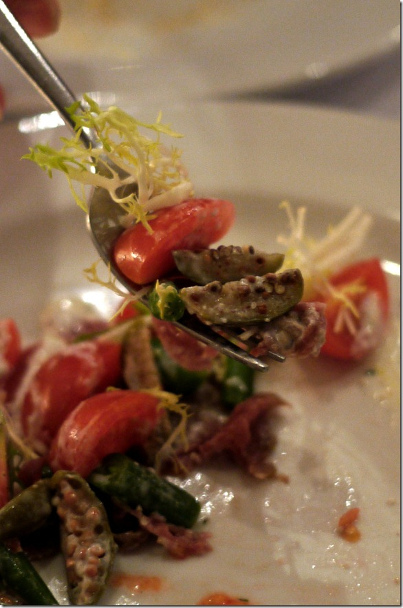 Grain-fed beef carpaccio with horseradish, cherry tomato and green beans