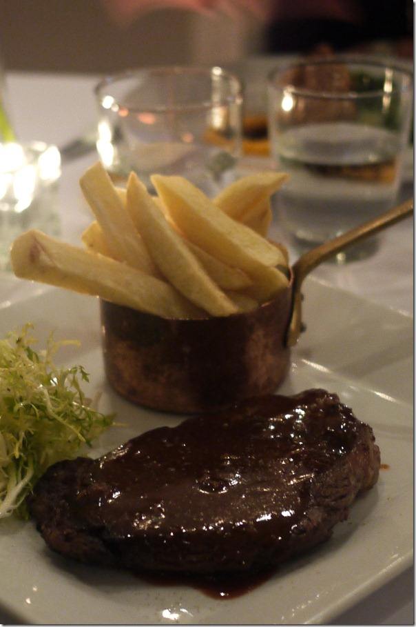 Grain-fed scotch fillet with triple cooked chips, watercress salad and dianne sauce