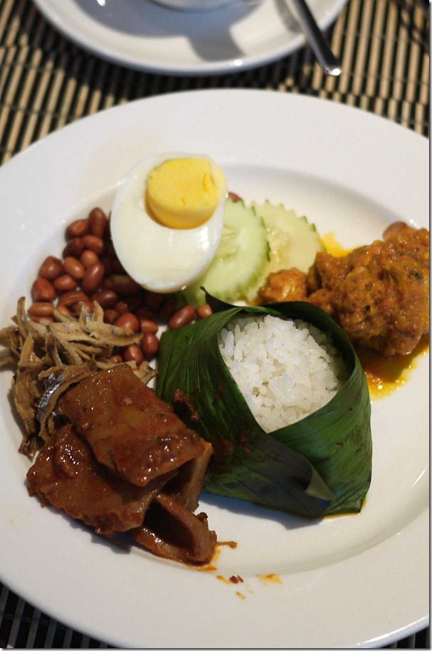 Nasi lemak with squid sambal and chicken curry