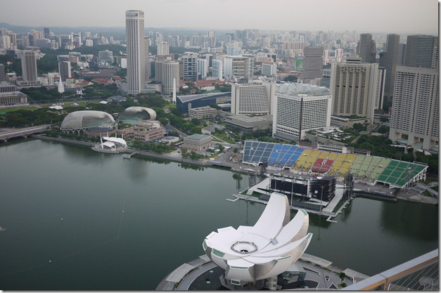 View of the Art & Science Museum from SkyPark Pool Marina Bay Sands, Singapore