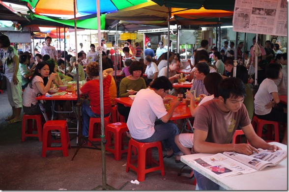 Diners tucking into their favourite Malaysian hawker food