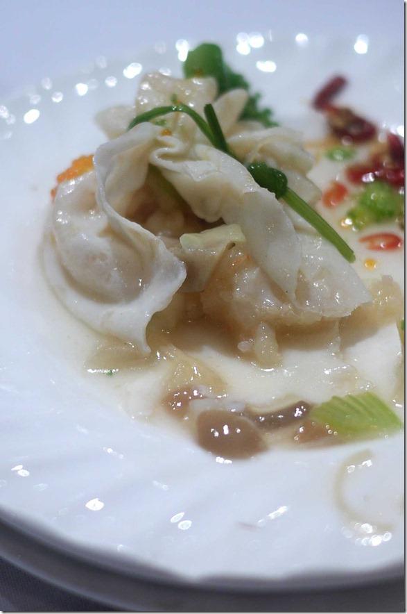 Innards of special dumplings - delicate seafood, mushroom and water chestnut
