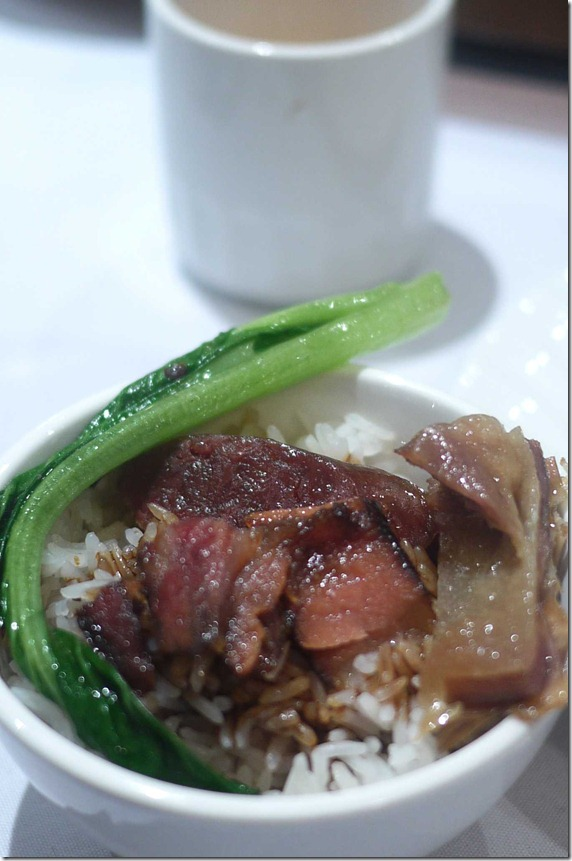 Chinese waxed duck with lupcheong, yuencheong, steamed rice and choi sum