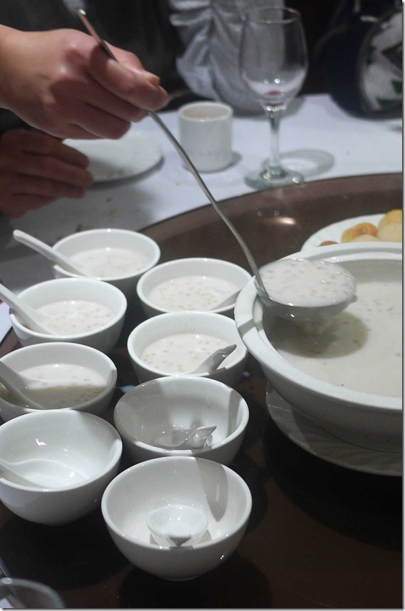 Dessert of sago and coconut milk
