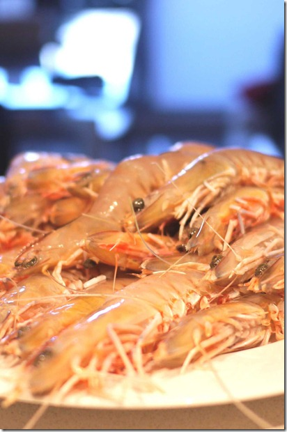 Fresh green prawns