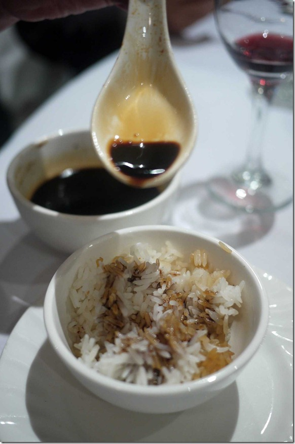 Steamed rice with special sweet black sauce