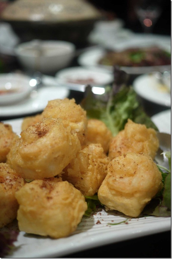Deep fried prawn and tofu fritters