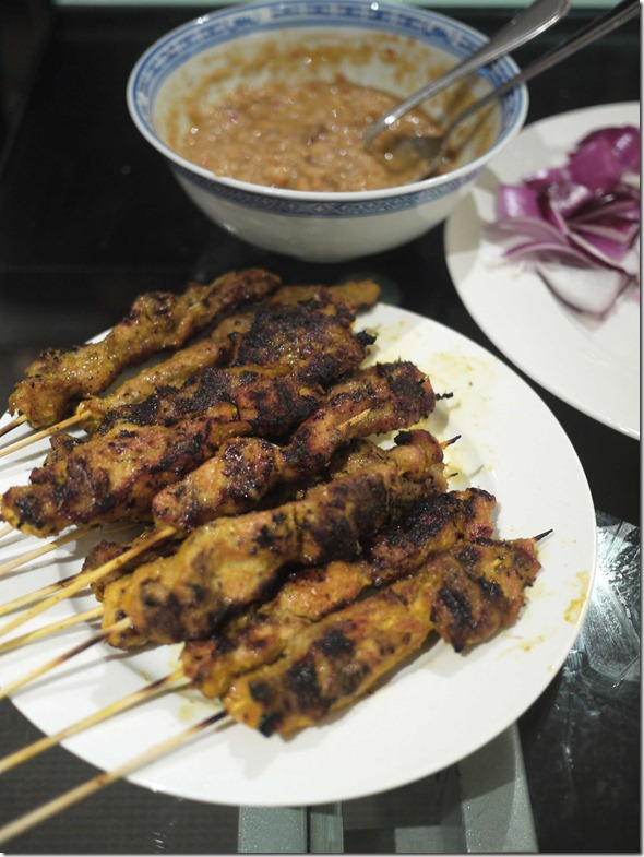 Char-grilled chicken satays