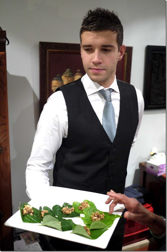 Our charming waiter Medy for the evening serving canapes