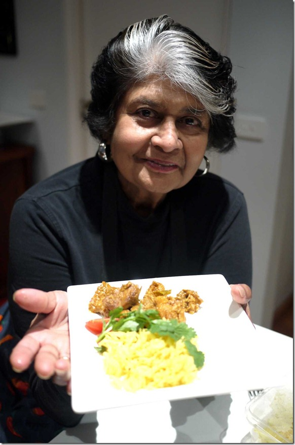 Carol Selva Rajah with her basmati turmeric rice and curry chicken