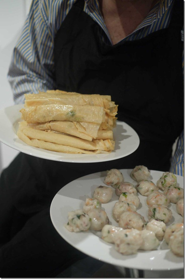 Beancurd skin rolls and fish cakes