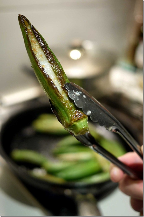 Seared okra stuffed with fish paste