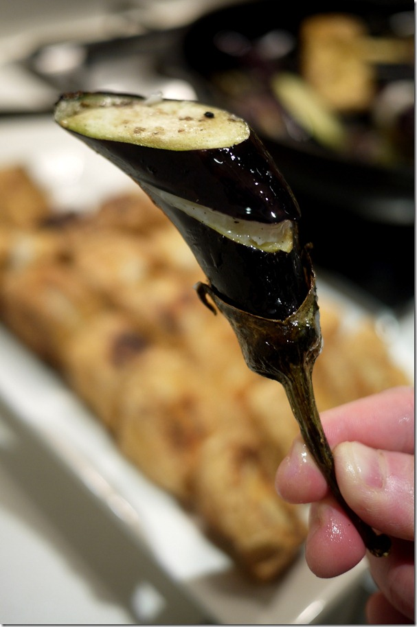 Eggplant slit stuffed with fish paste