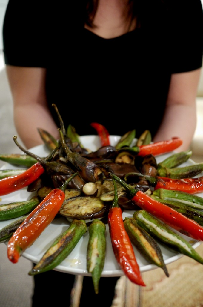 Yong Tau Foo 'sunflower' - fishcake stuffed chillies, okra and eggplant