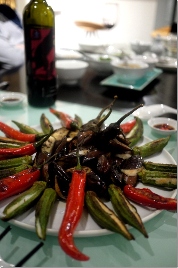 Chillies, okra and eggplant stuffed with fish paste