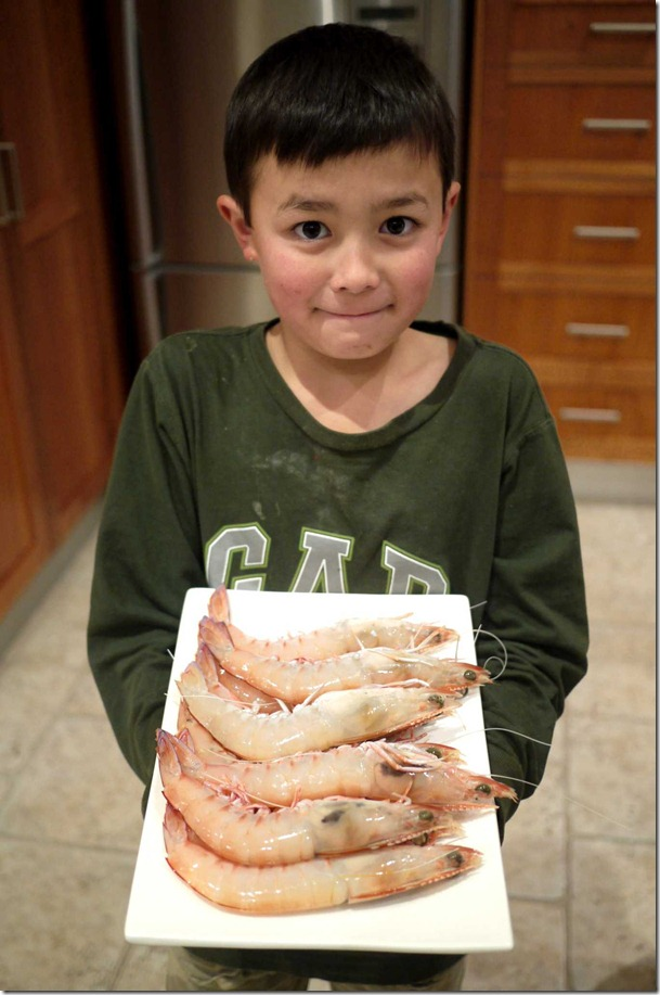 Jonah with fresh king prawns