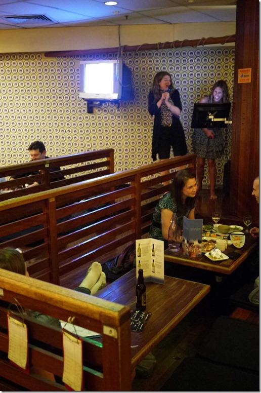 Ladies enjoying karaoke