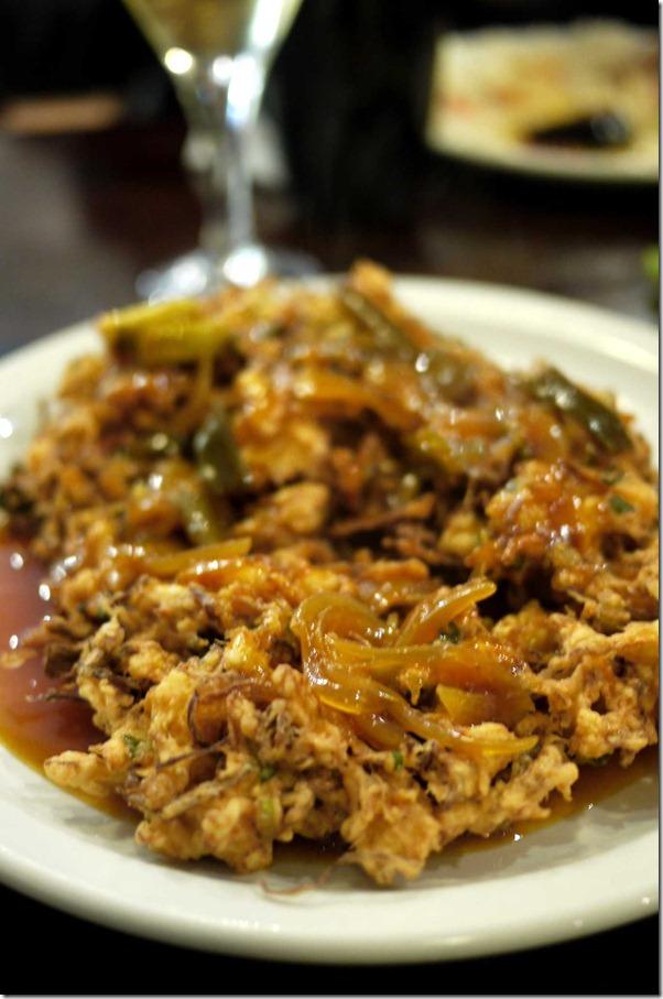 Fu yong hai or deep fried onion egg batter