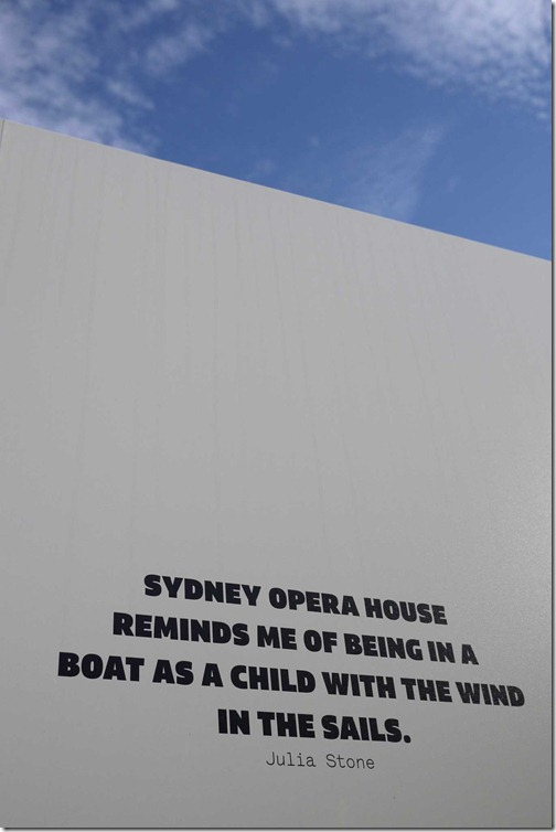 Caption outside Sydney Opera House