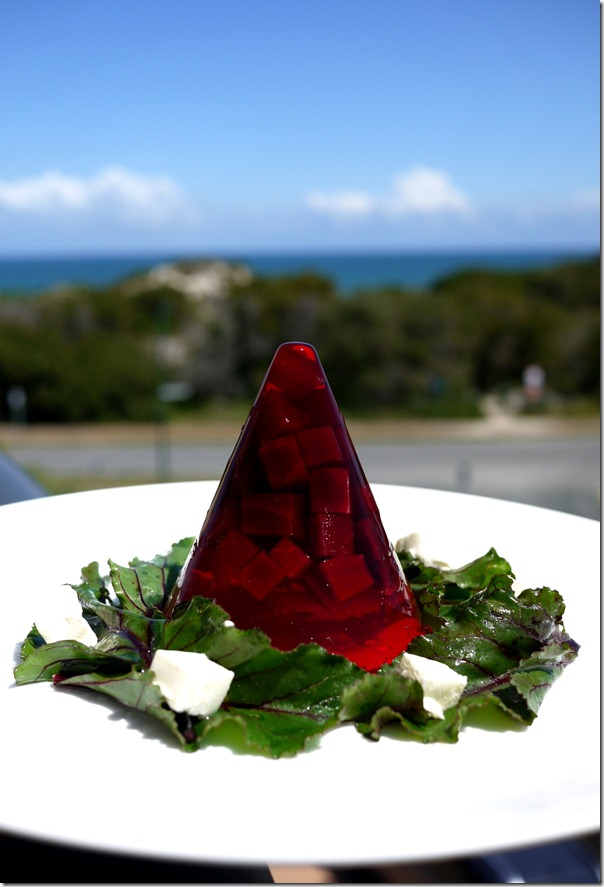 Colours of France - Pinot Noir beetroot jelly with goat cheese salad