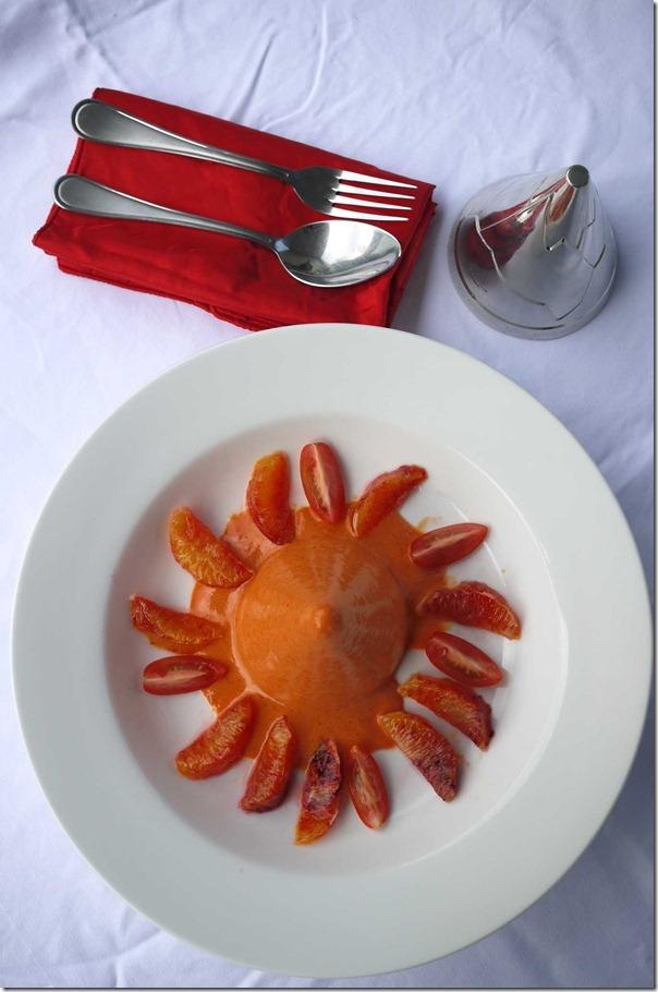Chilled gazpacho with blood orange