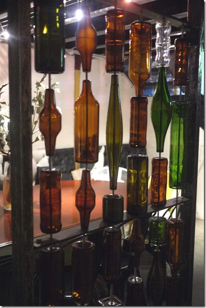Bottled decor in private dining room